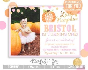 Little Pumpkin Invitation   Our Little Pumpkin Party   Glitter Pumpkin Invite   Girly Pumpkin   Light Pink Gold Invitation   Little Pumpkin