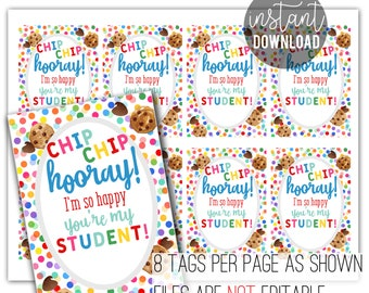 Back To School Printable   First Day Of School   Student Gift From Teacher   Student Cookies   Back To School Cookies   Chip Chip Hooray Tag