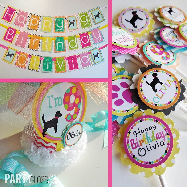 Girly Puppy Dog Birthday Party Decorations Package Fully