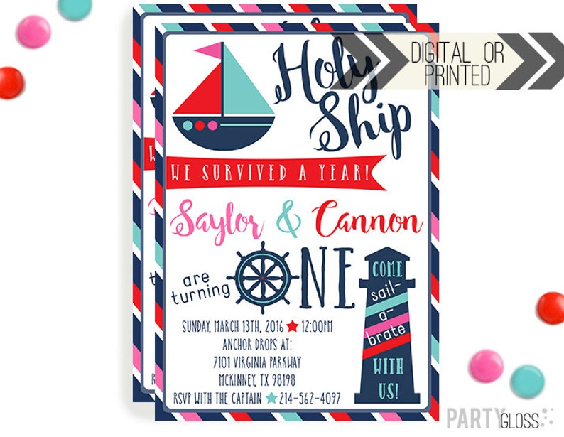 Boy Girl Twins Nautical Birthday Invitation Digital Or