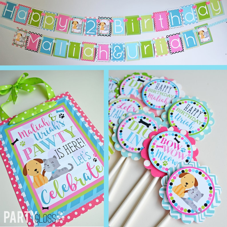 Puppy Kitty Birthday Party Decorations Package Fully