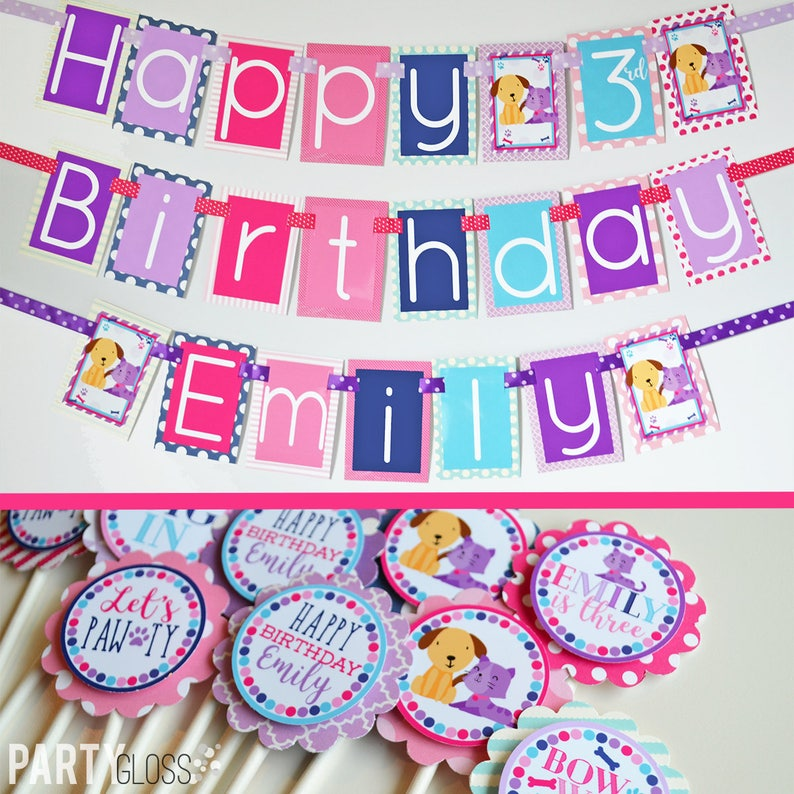 Dog Cat Puppy Kitten Birthday Decorations Package Fully