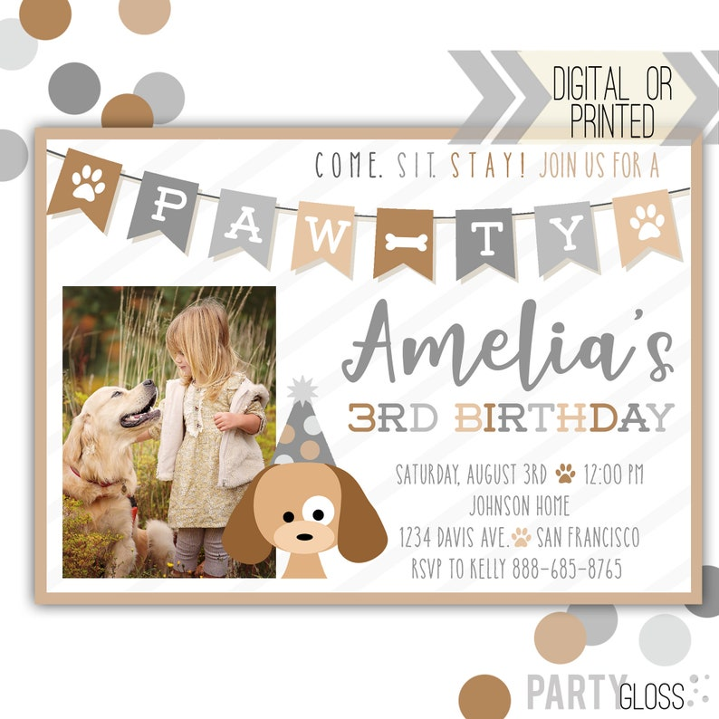 Puppy Dog Birthday Invitation