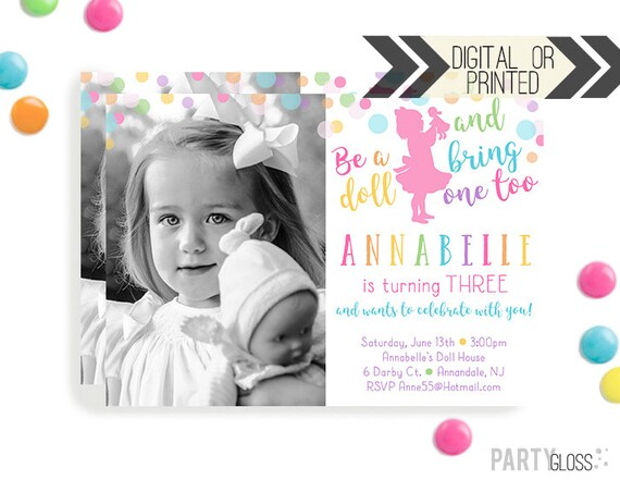 Baby Doll Party Invitation Digital Or Printed Dolly