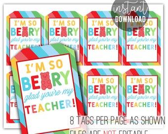 Back To School Gummy Bear Tag   Teacher Gift Tag   Beary Glad You're My Teacher   Teacher Appreciation Ideas   Easy Teacher Gift Tags