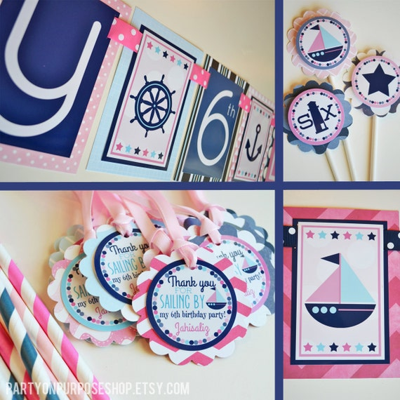 navy blue and pink party decorations