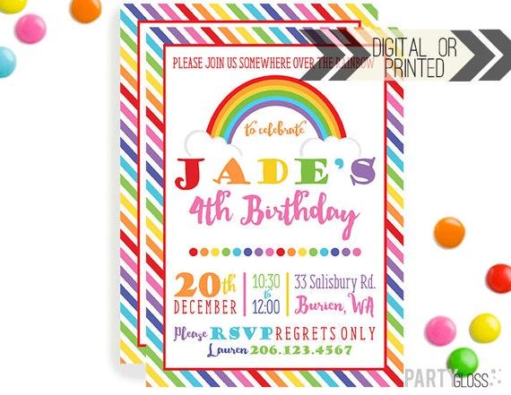 Rainbow Birthday Party Invitation Digital Or Printed Etsy