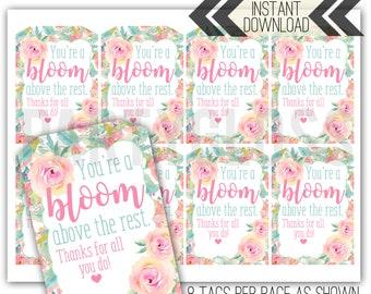 Staff Appreciation Printables   Floral Tags   Teacher Tags   Bloom Teacher Tags   Staff Thank You   Staff Appreciation Tag   Floral Tag