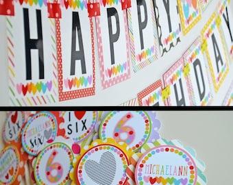 Rainbow Hearts Birthday Party Fully Assembled Decorations   Hearts Birthday Party   Rainbow Party   Rainbow Decorations   Rainbow Hearts