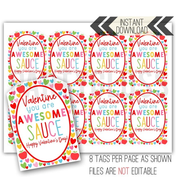 AwesomeSauce Pouch Valentine's Day Printable Tag  Main