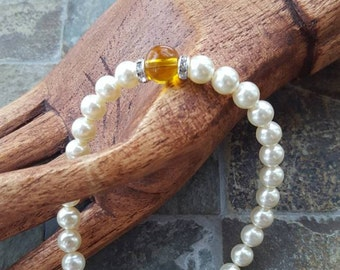 Mother's, Grandmother's Pearl & Gemstone Bracelet - Swarovski Pearls - Gemstone Birthstones - Sterling Silver - Birthstone Bracelet