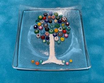 Murano Millefiore Tree of Life, Small Fused Glass Trinket Tray, Handmade, Ring Dish