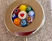 Pill box, PILL CASE, Pillbox, Colorful Murano Millefiore Glass Flowers Handmade, Perfect for Weekend Away