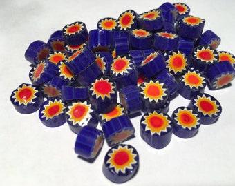 Murrine Millefiori 104 coe, SUNFLOWER on Cobalt Blue, 56 grams (2 oz), 10-12 mm, Best Quality Italian Glass Slices