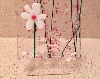 """Little Flower Ring Dish, Fused Glass Art Dish, Handmade Kiln Formed, White Pink, Trinket Tray, 3"""" Flower Power"""