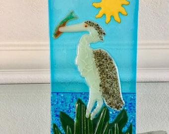 Heron Egret with Fish in His Beak, Fused Art Glass, Handmade Tabletop Art, Coastal Water Scene, Shore Bird