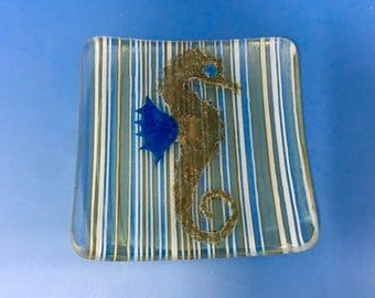 Seahorse, Fused Glass Art Dish, Handmade Kiln Formed, Lavender Yellow White Stripes, Coastal Beach Theme, Plate Sea Horse