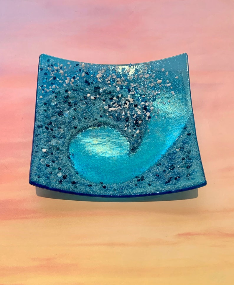 Ocean Wave Dish  Fused Glass Handmade Teal and Turquoise on image 0