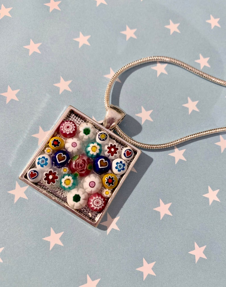 Millefiore Glass Flowers Mosaic Necklace Silver Chain image 0