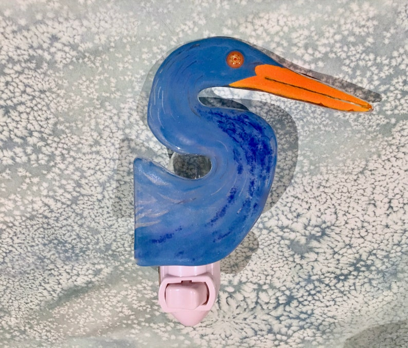 Nightlight  Blue Heron Coastal Bird Egret Handmade Fused image 0