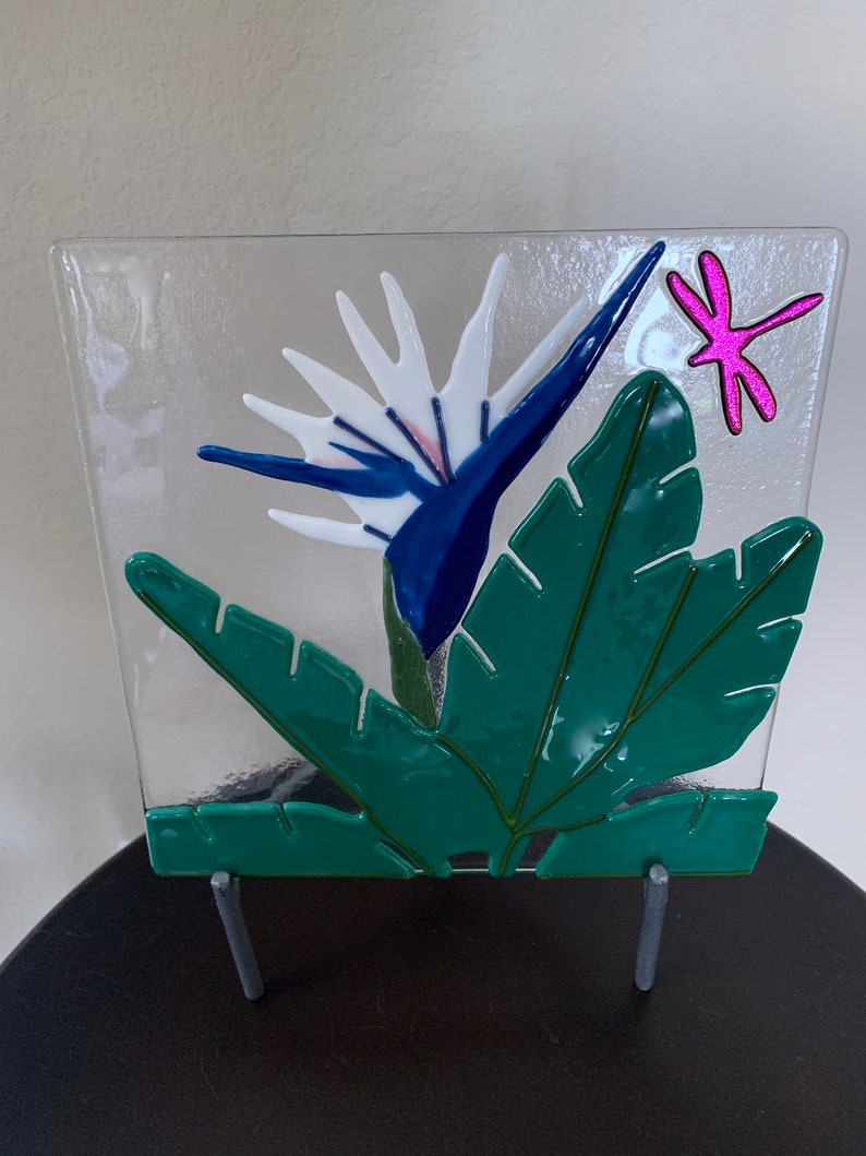 Blue Bird of Paradise Fused Glass Art Panel  Tropical Flower image 0