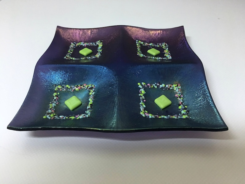 Fused Glass Tidbit or Sushi Dish Iridescent Purple Glass image 0