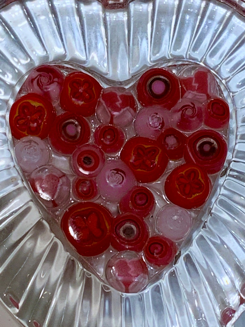 Two Available Glass LOVE HEART Mothers Day Gift Repurposed Cut Glass or Crystal Frame Handmade Fused Glass Center