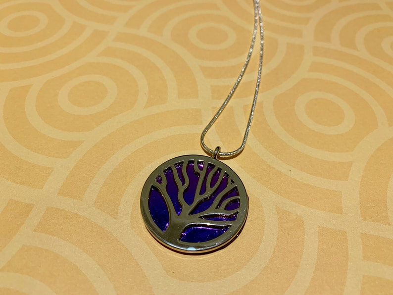 Silver Plated 24 Chain Handmade in US Purple Dichroic Glass and Silver TREE of LIFE Necklace Mothers Day Gift