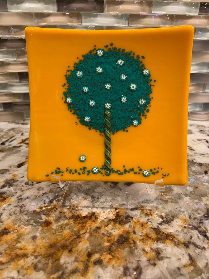 Murano Millefiori Dish Flowering Tree Fused Glass Handmade image 0