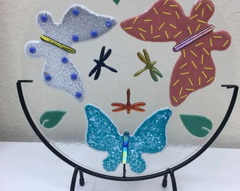 """Butterflies and Dragonflies Kaleidoscope Fused Glass Art Panel ~ 12"""" Round ~ Includes Metal Stand, Handmade, Colorful Dichroic Glass, Gift"""