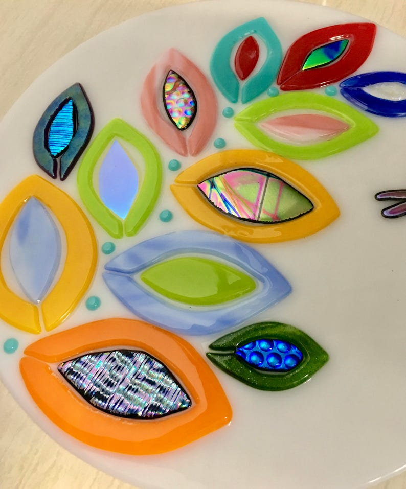 Fused Glass Rainbow Leaves and Dragonfly Art Glass Panel and image 0