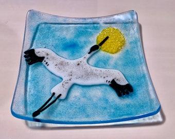 White and Black Crane Flying, Fused Glass Handmade Dish Plate, Great Gift, Wading Bird, Art Glass, Trinket Tray