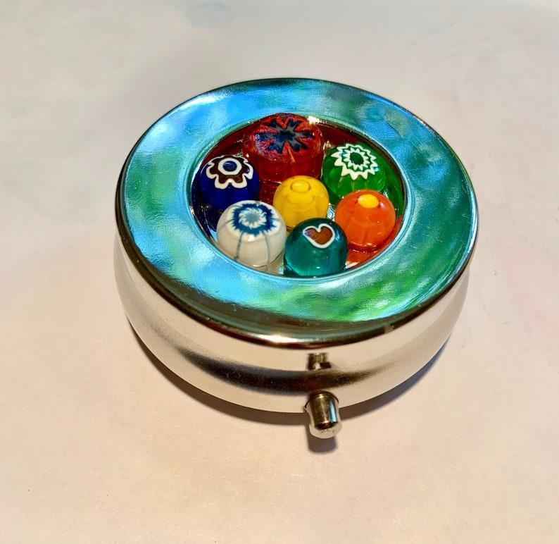 Pill box PILL CASE Mint box Italian Glass Flowers & Heart image 0