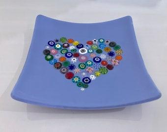 Large Murano Millefiori Heart, Fused Glass Dish, Periwinkle Blue, Handmade, 60+ Multi-Color Unique Slices of Italian Glass Art, Colorful
