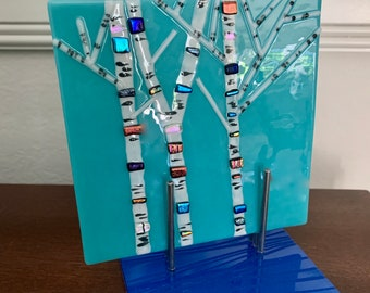 BIRCH TREES by the RIVER, Fused Glass Art Handmade, Sparkling Dichroic Glass, Tabletop Art on Unique Display Stand, Great Gift
