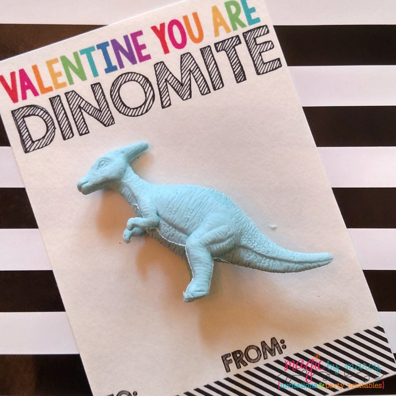 INSTANT DOWNLOAD Printable Dinomite Dinosaur Valentines for image 0