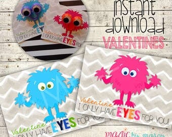 INSTANT DOWNLOAD DIY Valentines Day Printable Little Monsters crazy eyes