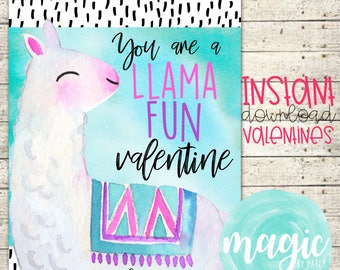 INSTANT DOWNLOAD Llama fun  Printable  Valentine for Valentines Day