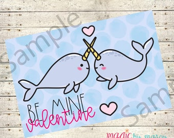 INSTANT DOWNLOAD Narwhal Printable  Valentine for Valentines Day