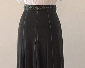 72c021ee76 Vintage Charcoal Gray Windowpane Skirt - Graphite Grey - 28 waist - Flat  Front Pleat Skirt - Gray - Size 8 - Dark Skirt