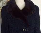 1960s Persian Lamb Coat - Black Persian Wool Luxurious Mink Collar Short Coat - Hollywood Regency Glam - Mary Mihalik 39 s Swing Coat - 40 Bust