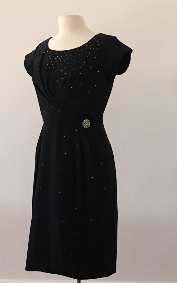 1960s Vintage Dress - Black Wiggle Dress Studded w
