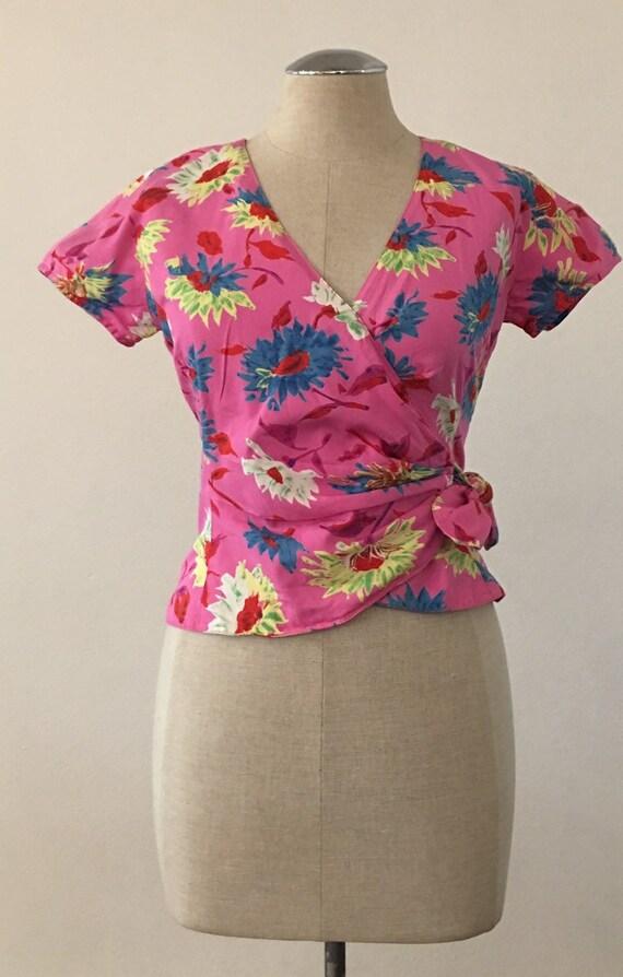 1980s Ungaro Parallele Paris Floral Wrap Style Shi