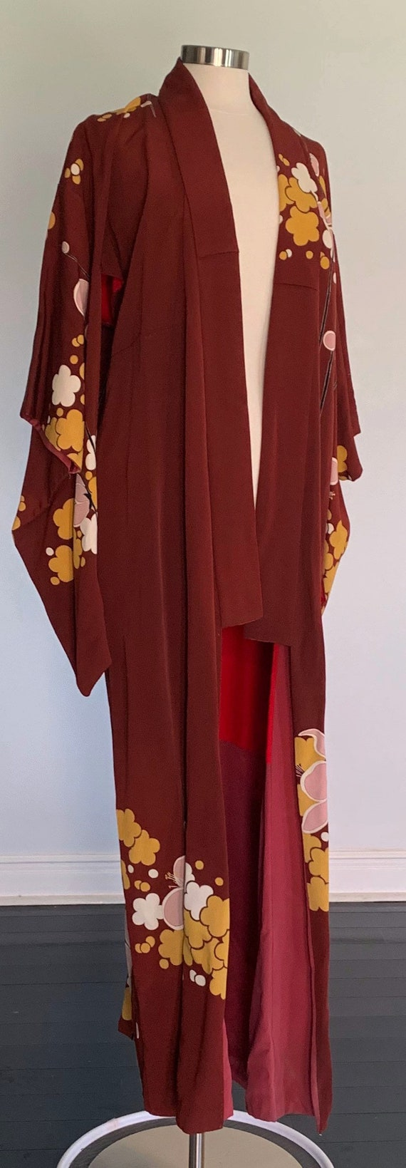 Vintage Long Kimono - Maroon - Red - Gold - Pink -