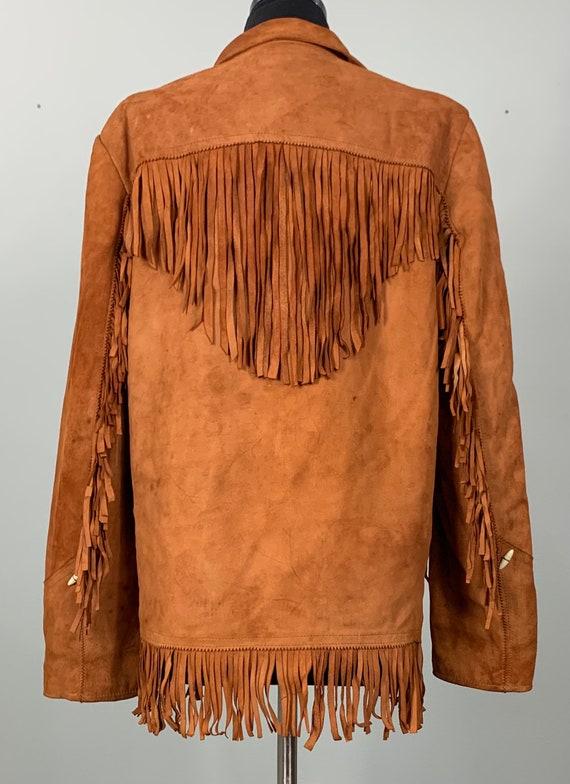 1970s Burnt Orange Suede Leather Fringe Jacket - … - image 9