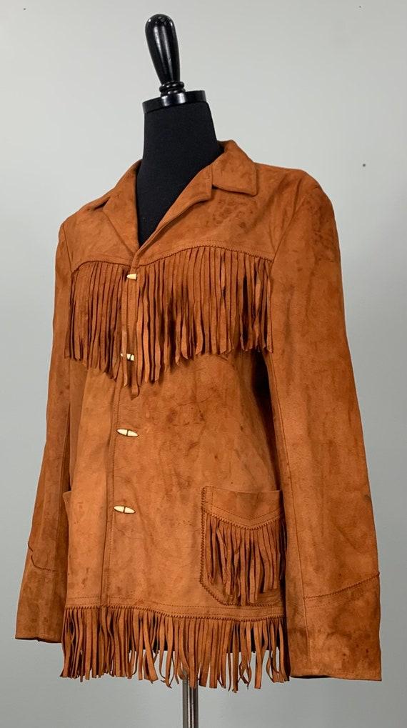 1970s Burnt Orange Suede Leather Fringe Jacket - … - image 4