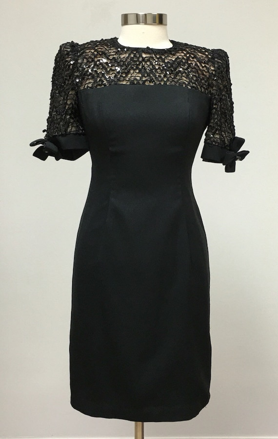 Lace And Sequins Little Black Dress Formal Semi Formal Etsy