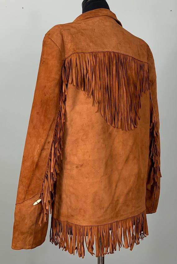 1970s Burnt Orange Suede Leather Fringe Jacket - … - image 7