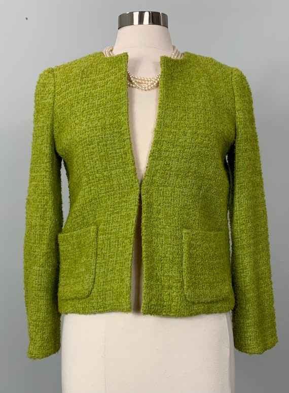 J.Crew Chartreuse Cropped Long Sleeve Blazer - Gre