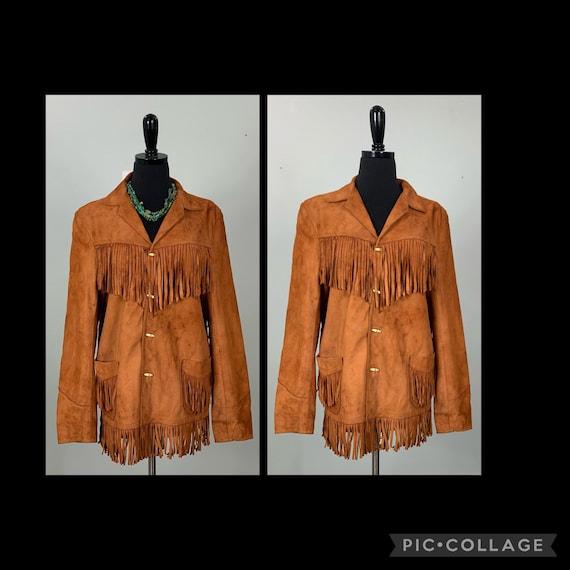 1970s Burnt Orange Suede Leather Fringe Jacket - … - image 1